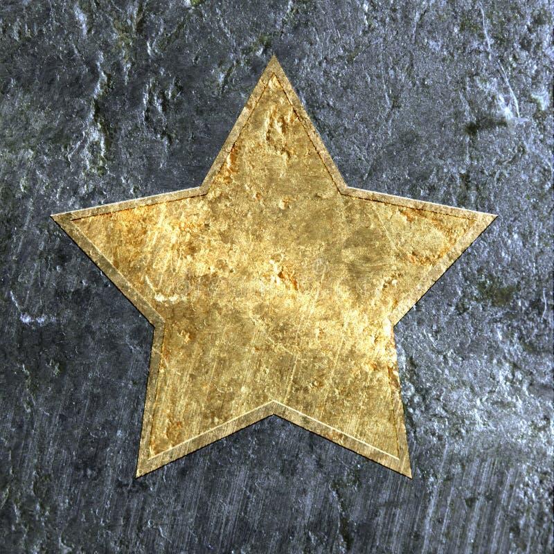 Estrela metálica do grunge do ouro ilustração royalty free
