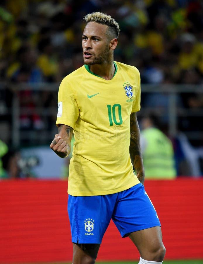 Estrela mundial brasileira Neymar após o segundo objetivo no mundo C de FIFA fotos de stock royalty free