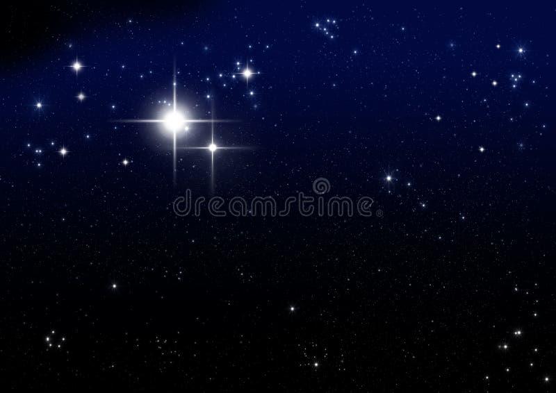 Estrela na obscuridade - azul ilustração royalty free