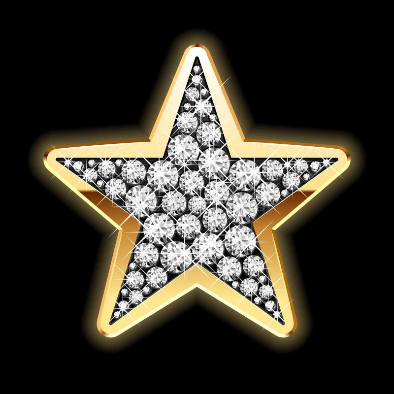 Estrela nos diamantes. Vetor detalhado.
