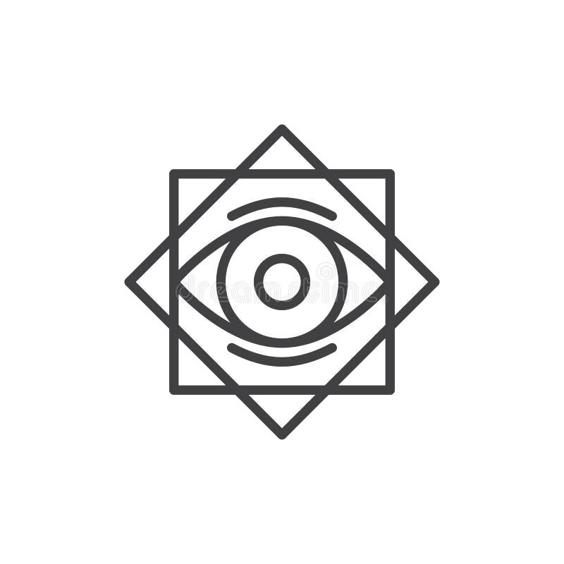 Estrela oito aguçado com todo o ícone de vista do esboço do olho ilustração stock