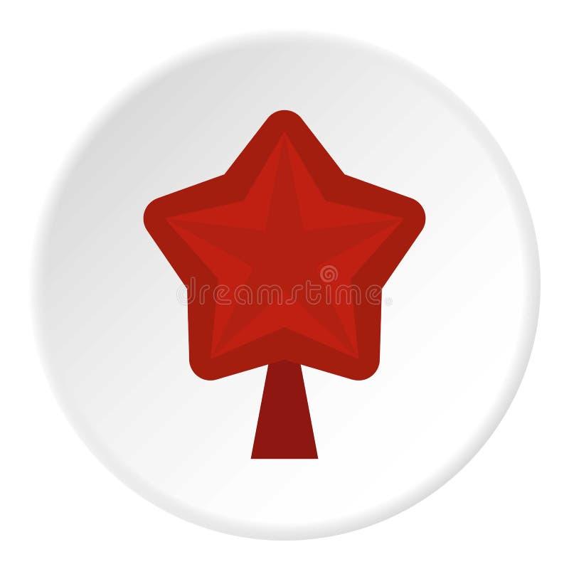 Estrela para o círculo do ícone da árvore de Natal ilustração royalty free