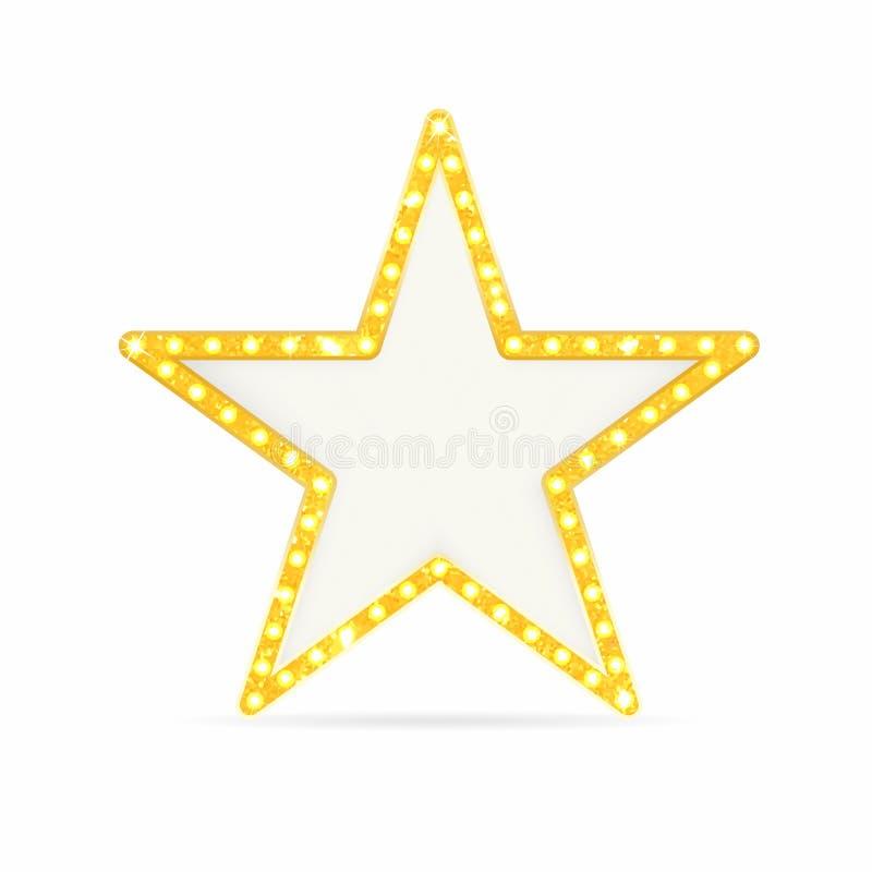 Estrela retro do ouro Quadro do vintage com as luzes isoladas no fundo branco ilustração do vetor