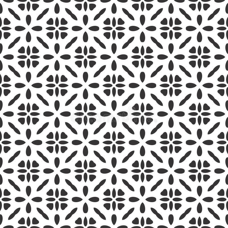 Estrela sem emenda moderna do teste padrão da geometria do vetor preto e branco de Safari Pattern, sumário preto e branco ilustração stock