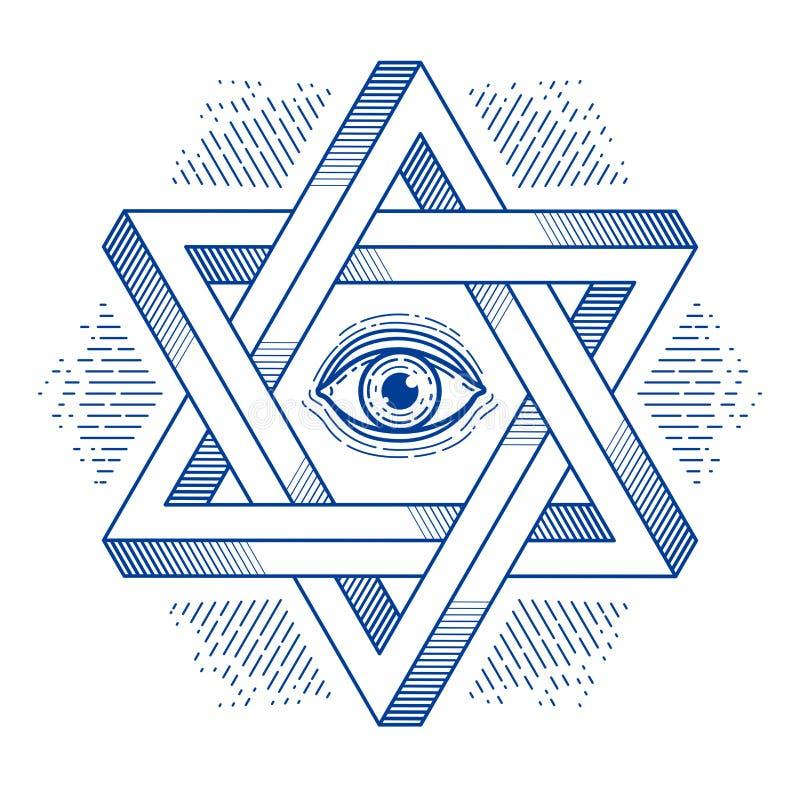 Estrela sextavada judaica com todo o olho de vista do símbolo sagrado da religião da geometria do deus criado dos triângulos bidi ilustração royalty free