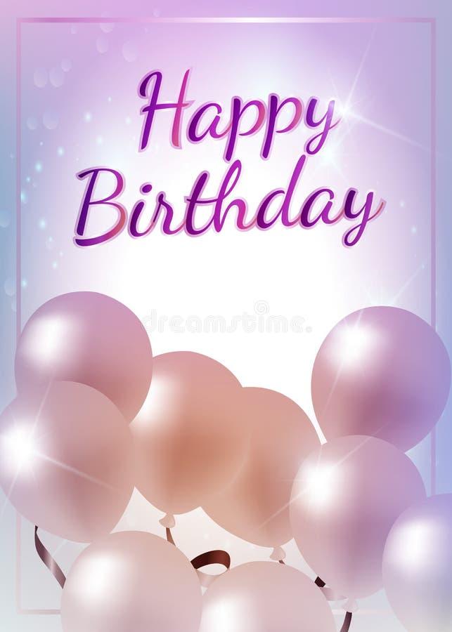 A estrela shinning de menina do fundo do feliz aniversario balloons para o inv ilustração royalty free
