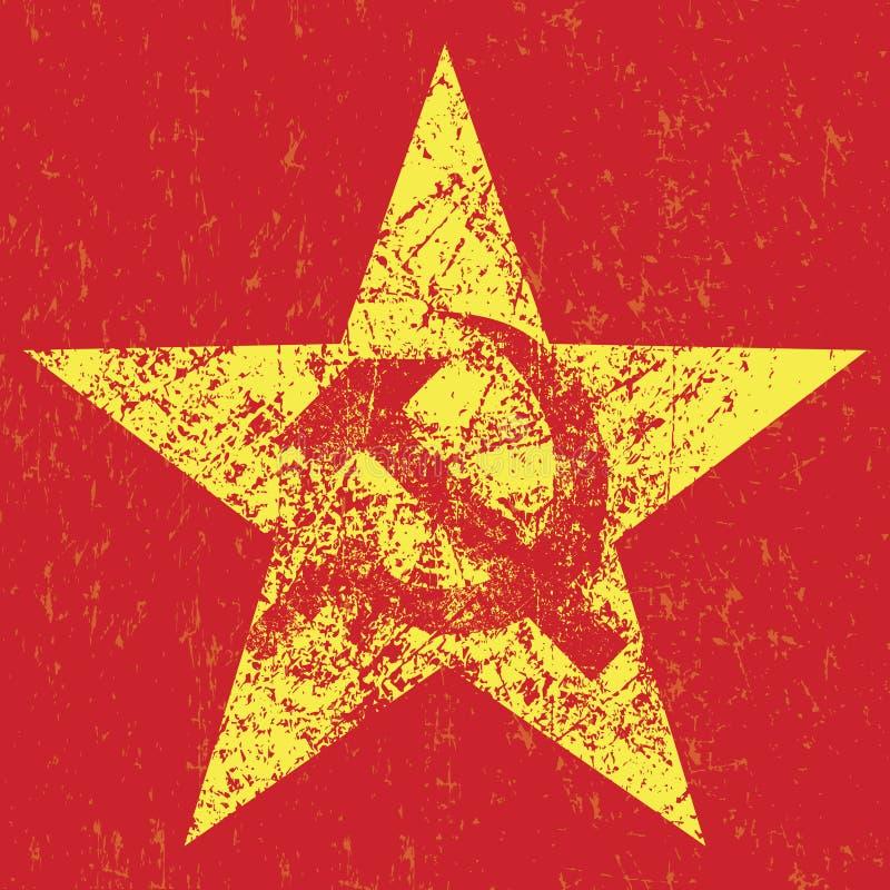 Estrela soviética do Grunge com martelo e foice, ilustração stock