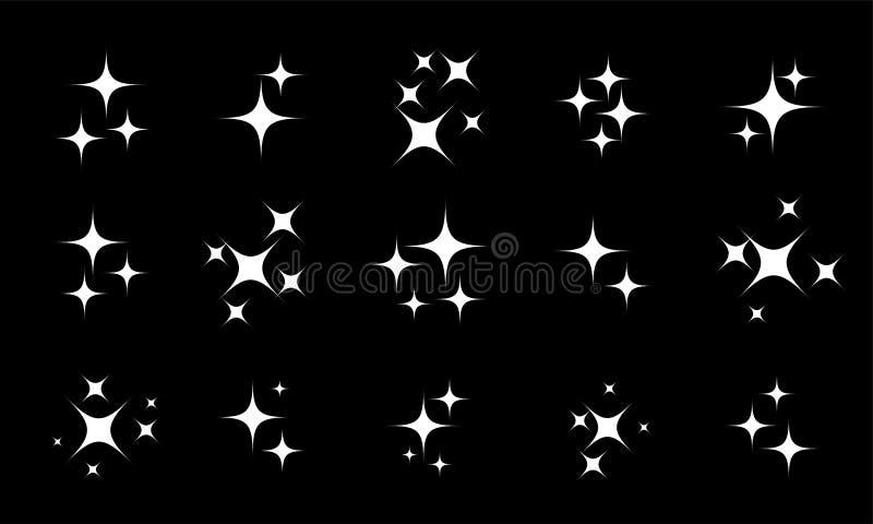 A estrela sparkles o grupo branco do vetor do twinkling ilustração royalty free
