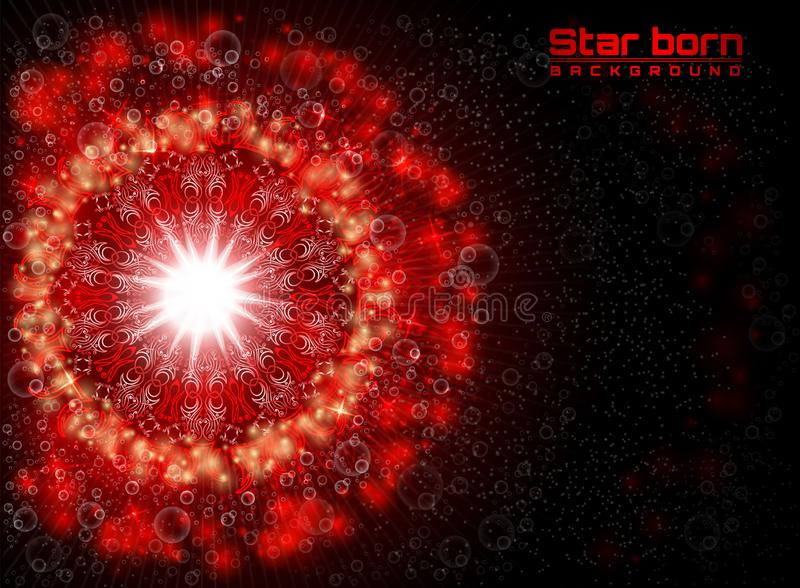Estrela vermelha carregada no espaço com fundo estrelado do céu ilustração do vetor