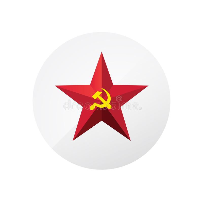 Estrela vermelha com uma foice e um martelo Símbolo da URSS e do comunismo Sinal do vetor isolado no fundo branco Um símbolo do ilustração royalty free