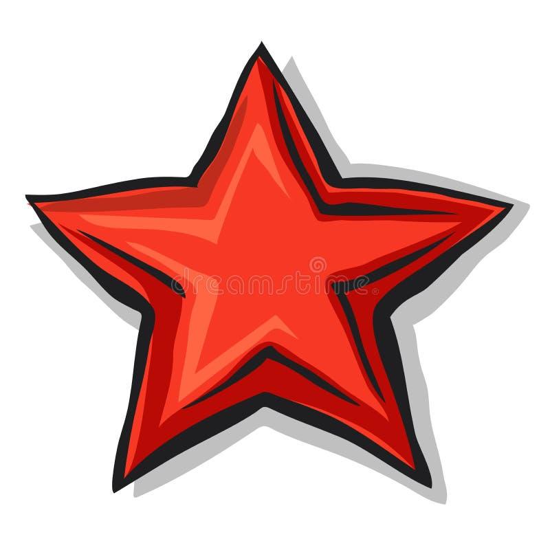 Estrela vermelha dos desenhos animados grandes com sombra e contorno preto ilustração royalty free