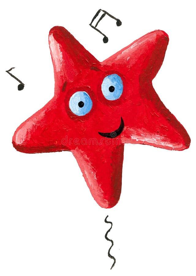 Estrela vermelha engraçada do canto ilustração do vetor