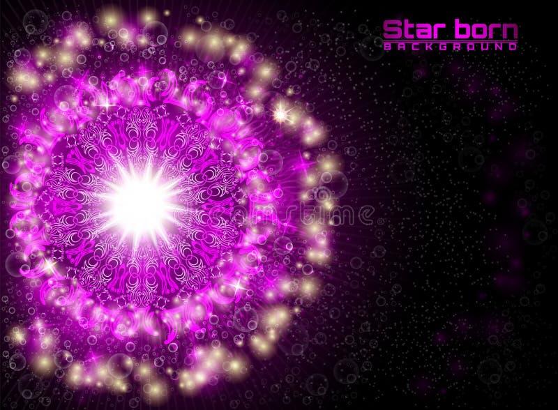 Estrela violeta carregada no espaço com fundo estrelado do céu ilustração do vetor