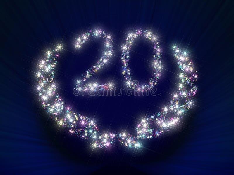 Estrelas 20 do aniversário ilustração royalty free