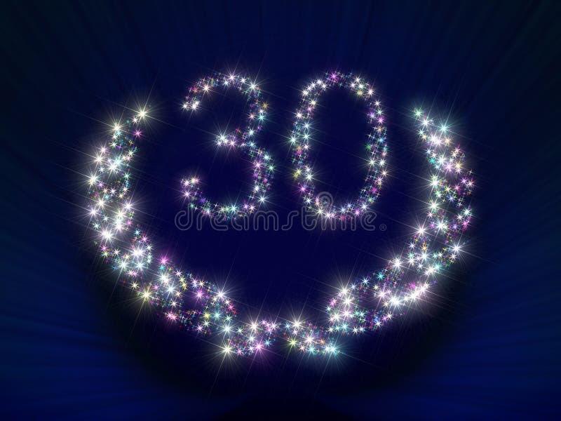 Estrelas 30 do aniversário ilustração stock