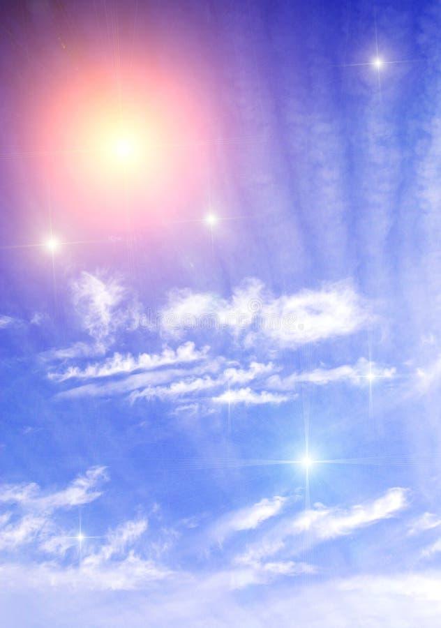Estrelas abaixo do que nuvens ilustração do vetor