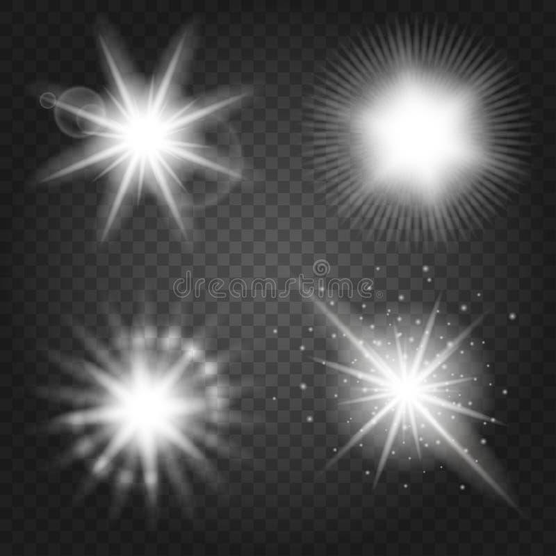 Estrelas ajustadas no fundo transparente ilustração stock