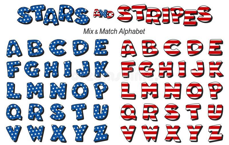 Estrelas & alfabeto das listras ilustração stock