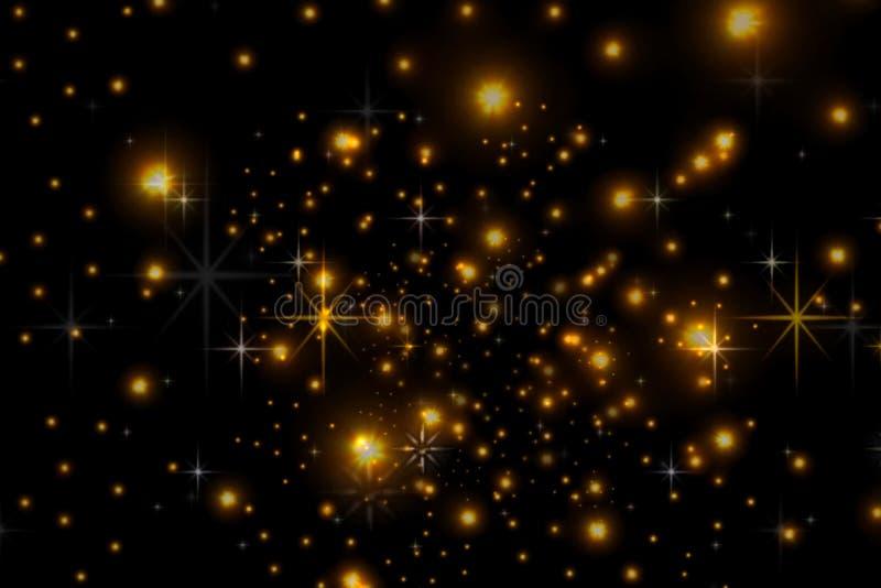 Estrelas animados em um fundo preto O céu estrelado ilustração do vetor
