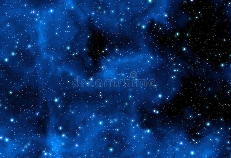 Estrelas azuis da nebulosa ilustração stock