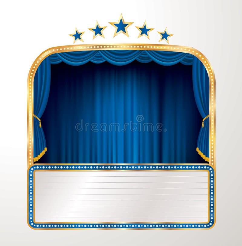 Estrelas azuis largas do quadro de avisos ilustração stock