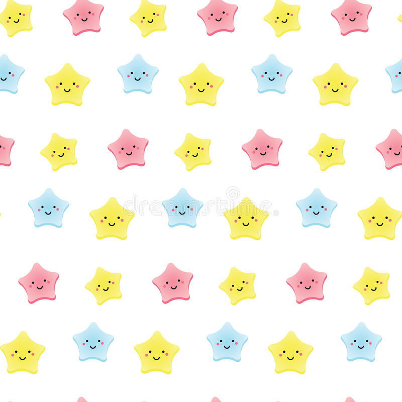 Estrelas bonitos do kawaii O fundo para crianças, os bebês e as crianças projetam com caráteres de sorriso do céu ilustração royalty free