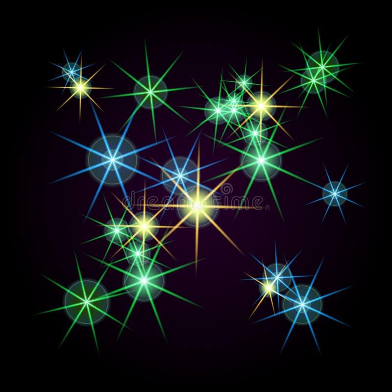 Estrelas brilhantes de cores diferentes em um fundo preto quadriculação ilustração do vetor