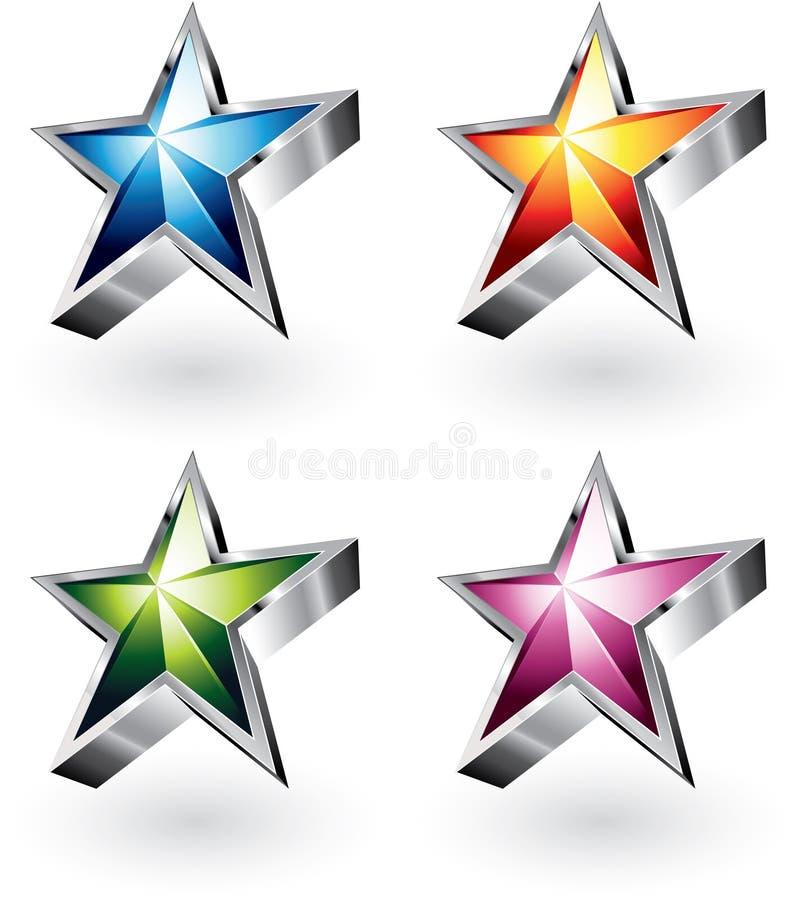 Estrelas brilhantes do vetor em quatro cores ilustração stock