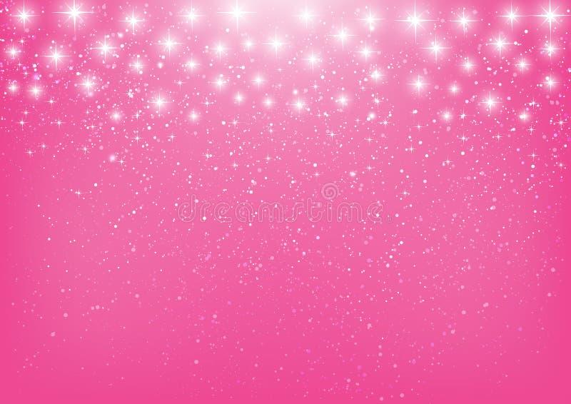 Estrelas brilhantes no rosa ilustração stock
