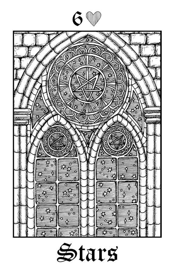 Estrelas Cartão de tarô da plataforma gótico do oráculo dos mistérios de Lenormand do vetor ilustração do vetor