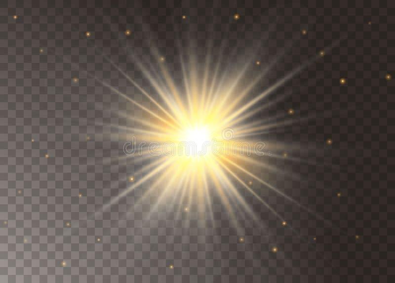 Estrelas claras do efeito do fulgor O vetor sparkles no fundo transparente Teste padr?o abstrato do Natal Part?culas de poeira m? ilustração do vetor