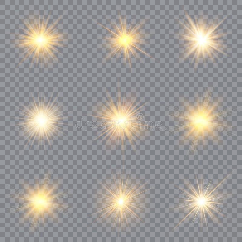 Estrelas claras do efeito do fulgor O vetor sparkles no fundo transparente Teste padr?o abstrato do Natal Part?culas de poeira m? ilustração royalty free
