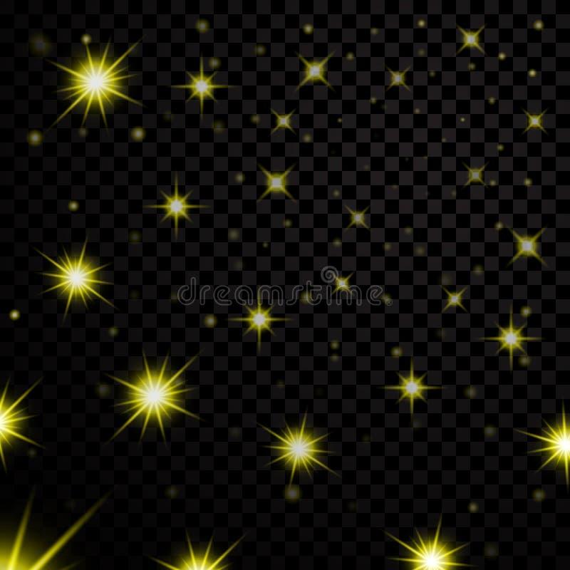 Estrelas claras do ouro no fundo transparente preto Projeto de incandescência do bokeh abstrato Elementos brilhantes do brilho Br ilustração do vetor