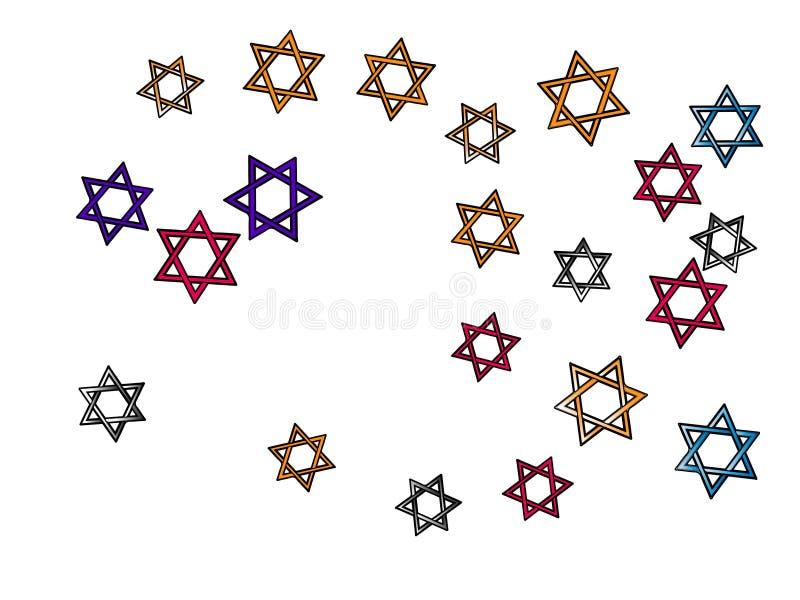 Estrelas coloridas de David dos confetes, estrela ilustração do vetor