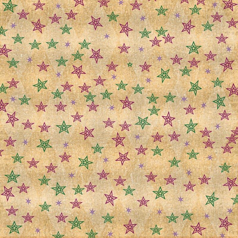 Estrelas coloridas no fundo afligido sujo ilustração do vetor