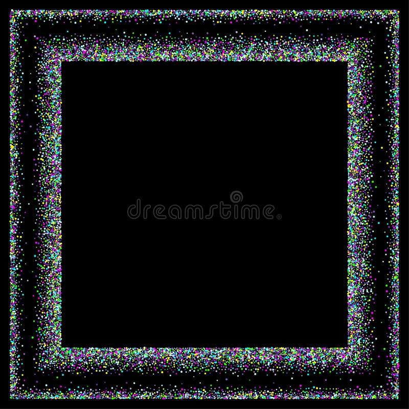 Estrelas coloridos dos confetes em um fundo preto ilustração do vetor