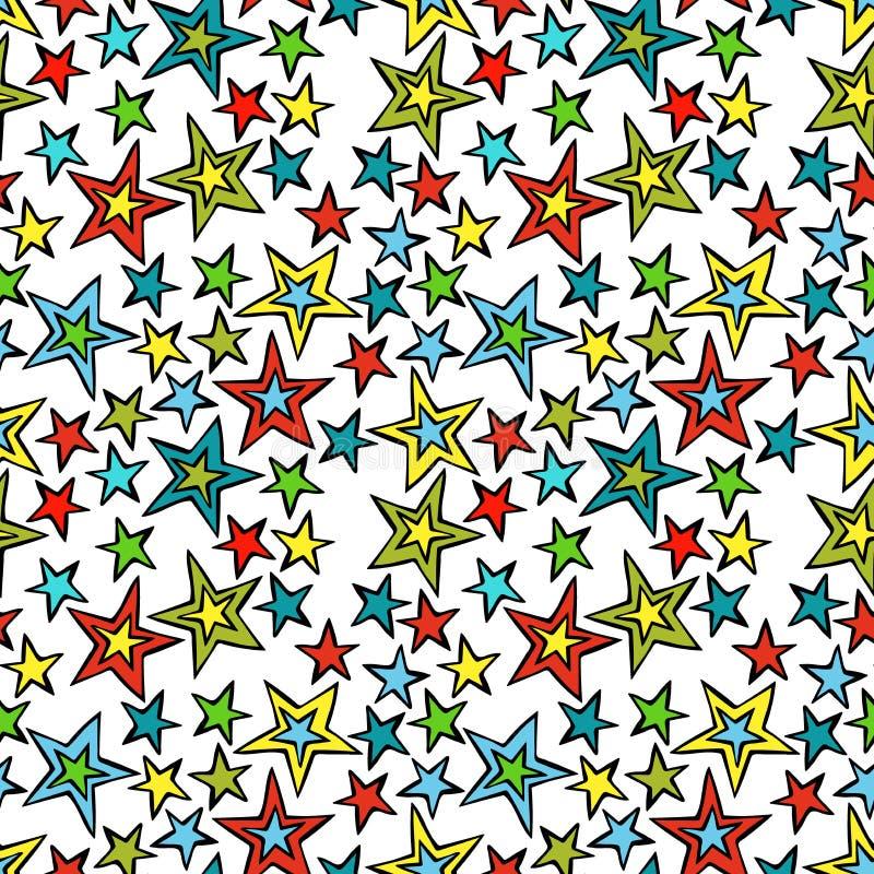 Estrelas coloridos Fundo sem emenda do teste padrão do vetor fotografia de stock royalty free