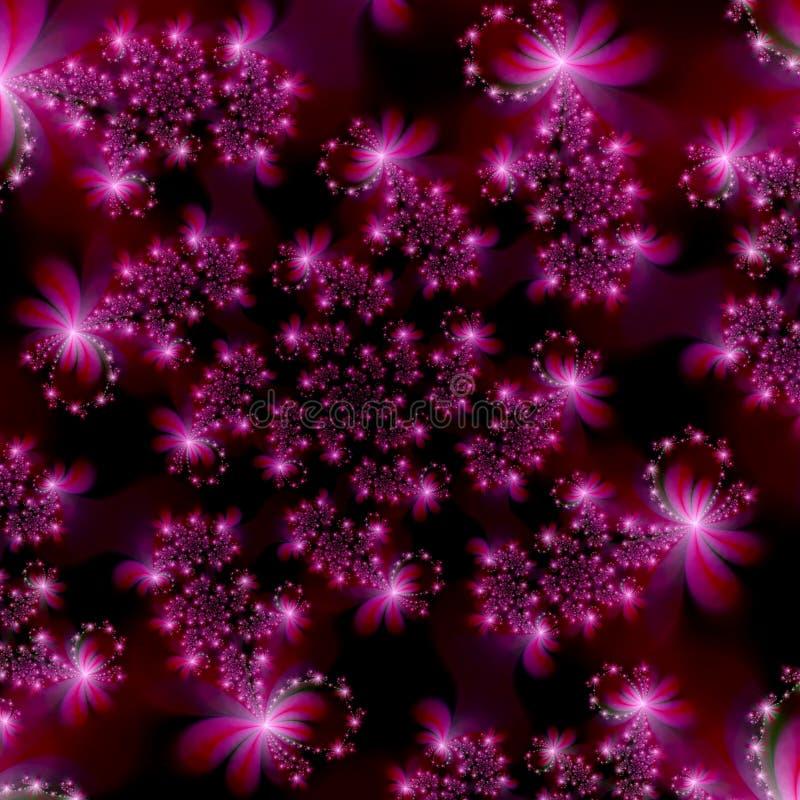 Estrelas cor-de-rosa magentas do Fractal no fundo do sumário do espaço ilustração royalty free