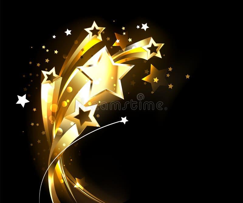 Estrelas crescentes do ouro no fundo preto ilustração do vetor