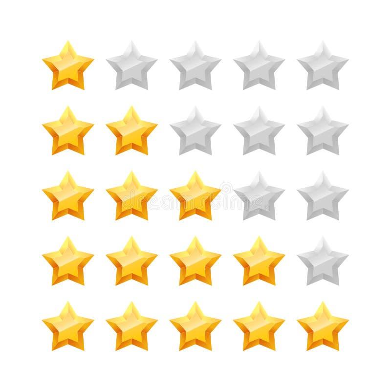estrelas 3D cinco que avaliam o grupo do ícone ilustração stock