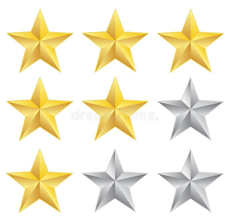 Estrelas da avaliação no branco ilustração royalty free