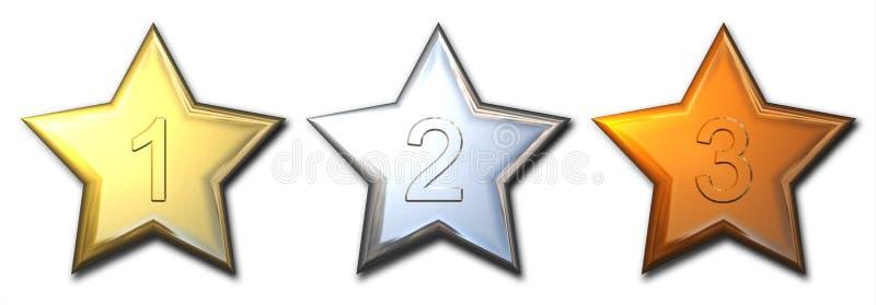 Estrelas da prata e do bronze do ouro isoladas ilustração royalty free