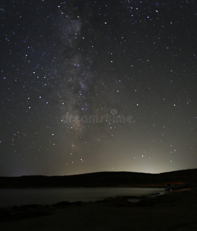 Estrelas Da Via Látea Na Noite Foto de Stock Royalty Free