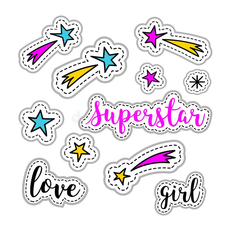 Estrelas das etiquetas da menina, fogo de artifício, logotipo da estrela mundial, rotulação do amor Elemento retro 80s-90s do rem ilustração do vetor