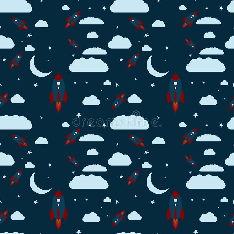 Estrelas das nuvens do lançamento do foguete do tema da noite do teste padrão e crista sem emenda da lua ilustração royalty free