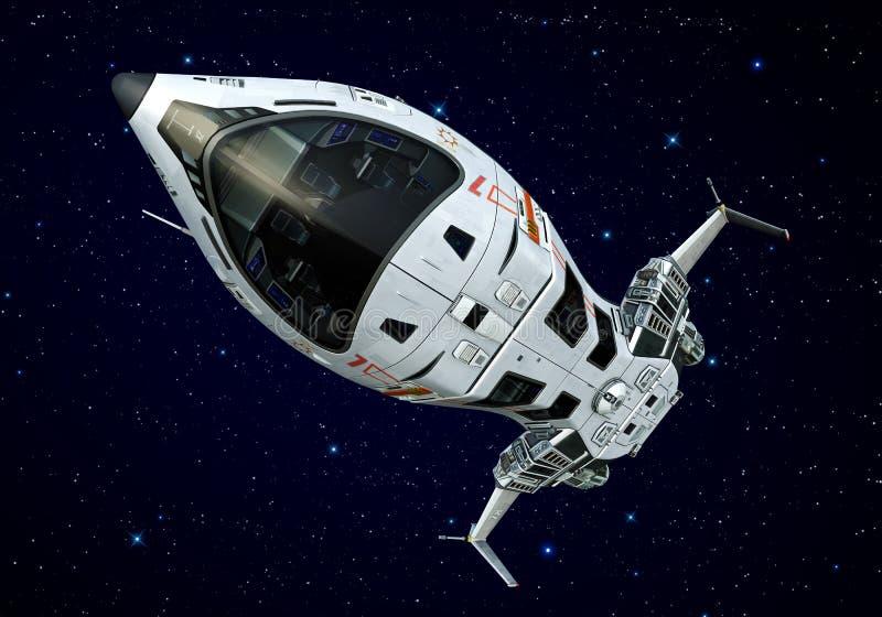 Estrelas de cabeça para baixo do close up da nave espacial ilustração do vetor