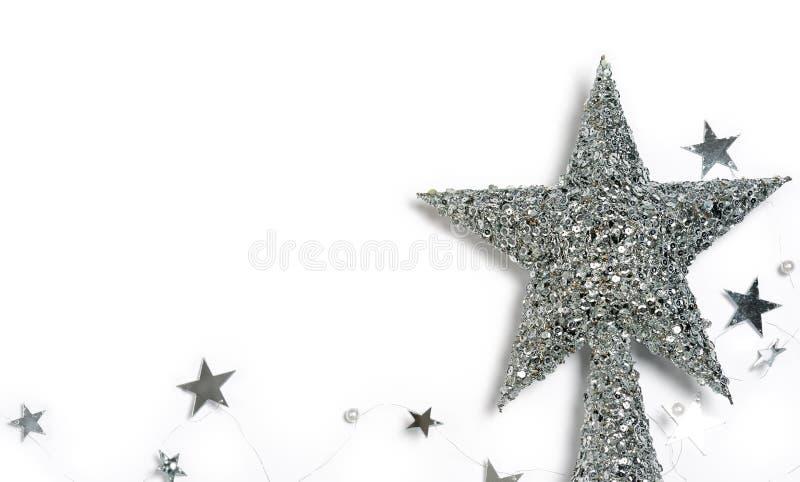 Estrelas de prata do Natal imagem de stock royalty free