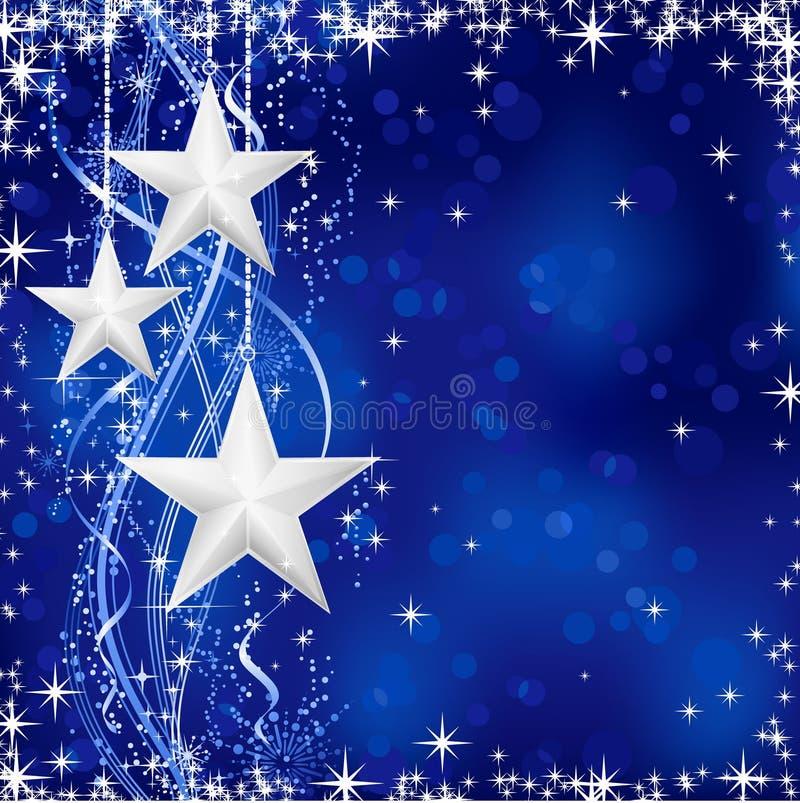 Estrelas de prata do Natal no fundo azul ilustração do vetor