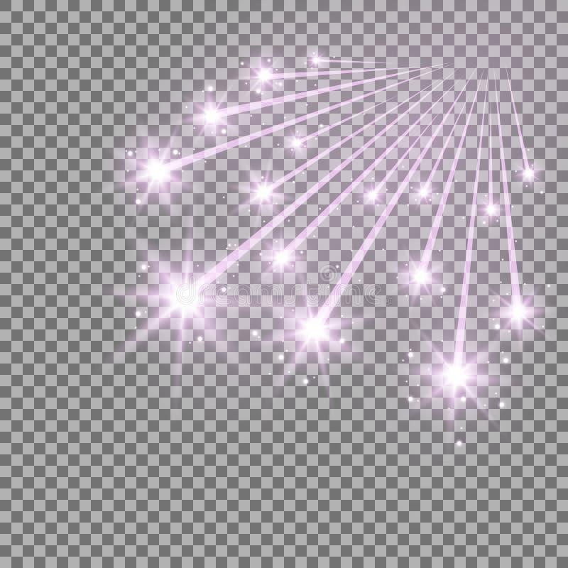 Estrelas de queda de brilho com stardust, cor roxa ilustração do vetor