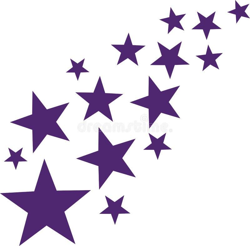 Estrelas de queda de Lila ilustração do vetor